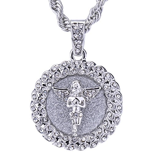 METALTREE98 Men's Iced Out Gold/Silver Toned Angel Medallion Pendant 24