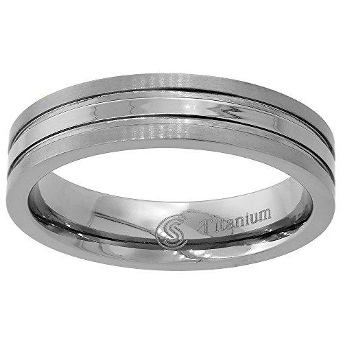 Sabrina Silver 5mm Titanium Wedding Band Ring Stripe Center Flat Comfort Fit size 10.5