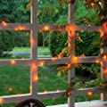 SCS Direct Halloween 100 pcs String Lights 33 ft / 10 m LED Orange - Outdoor Indoor Decorations for Bedroom, Patio, Parties, Holidays and Crafting