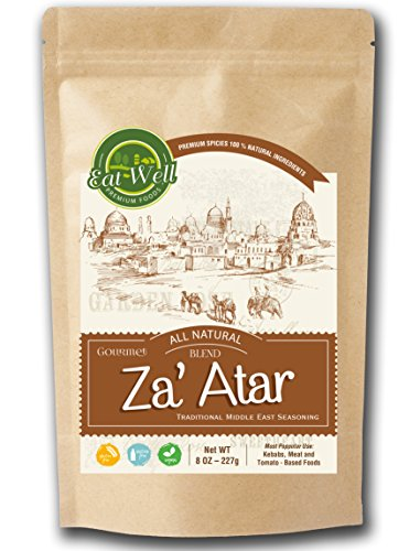 Zaatar (Zatar/Zaatar/Zahtar) Seasoning Blend   8 oz - 227 g - Reseable Bag   Traditional Lebanese Spices   Zahtar Spice   SALT FREE   Eat Well Premium Foods