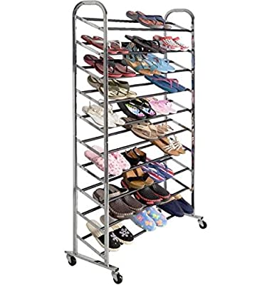 10 Tier 50 Pairs Shoe Rack Organizer Storage Free Standing Tower Space Saving Shelf Closet Stack Chrome Metal Home with Wheels