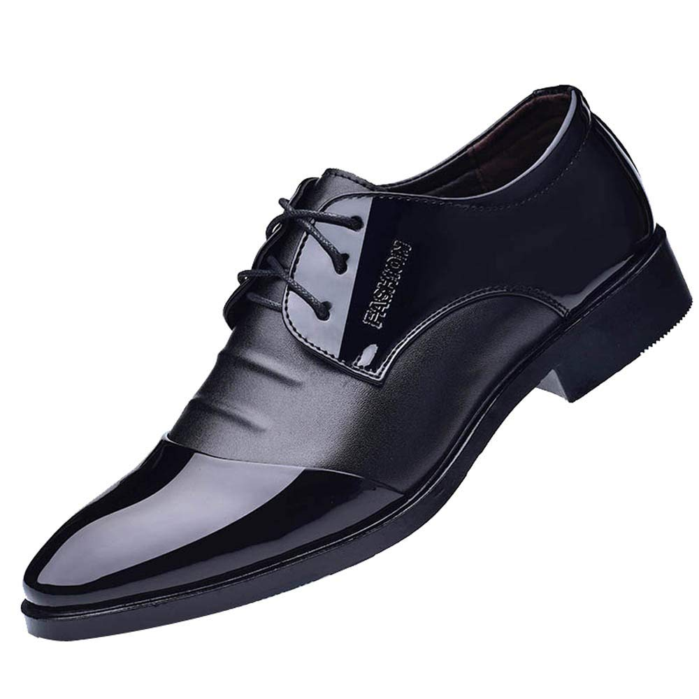 Men Leather Shoes Formal, Male Suit Shoes Business Dress Shoes Fashion Pointed Toe Shoes Black