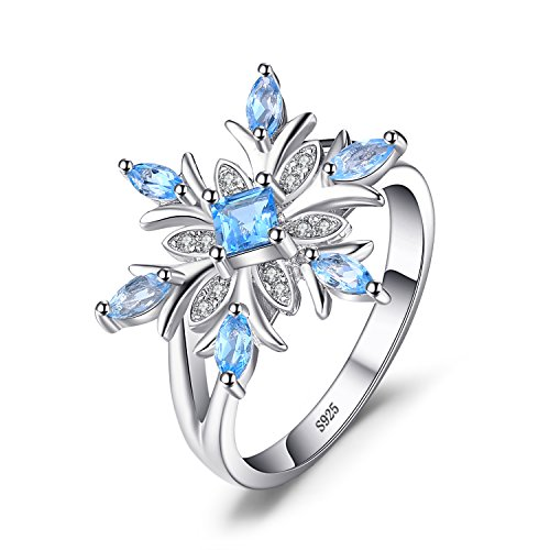 JewelryPalace Snowflake Genuine Swiss Blue Topaz Ring Solid 925 Sterling Silver Size 9 ()