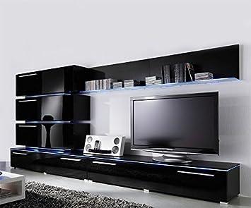 Amazon.com: Concept Muebles Liren Contemporary Wall Unit with LED ...