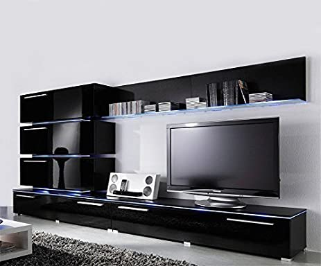 Amazoncom Concept Muebles Liren Contemporary Wall Unit with LED