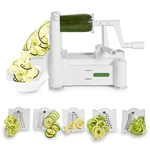 Spiralizer 5-Blade Vegetable Slicer, Strongest-and-Heaviest Duty, Best Veggie Pasta &