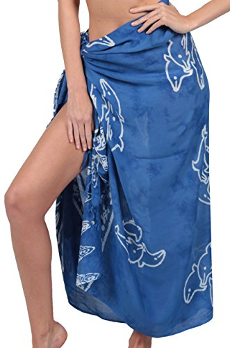 - INGEAR Long Batik Print Sarong Womens Swimsuit Wrap Cover Up Pareo (One Size, Blue Dolphin)