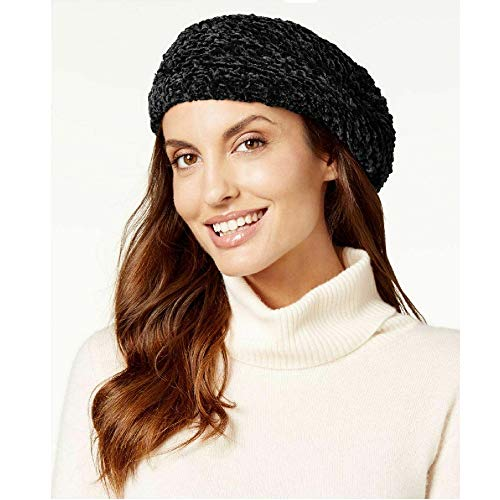 Charter Club Velvety Solid Chenille Beret in Black