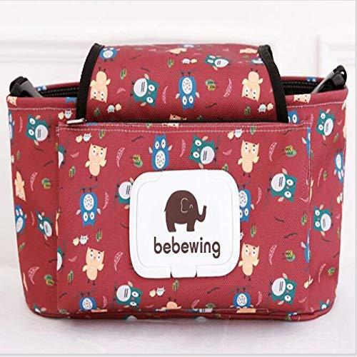 YOUYUANF Almacenamiento Bolso de bebe Cochecito Accesorios Cochecito de nino Impermeable Color de Dibujos Animados Elefante Bolsa de Almacenamiento Bolso Colgante Bolso de mama