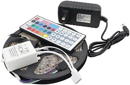 5M RGB 5050 Waterproof 300LED Strip light SMD 44 Key Remote 12V US//EU Power