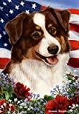 Cheap Australian Shepherd Red Tri – Best of Breed Patriotic Large Flags