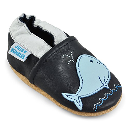 ft Leather - Crib Shoes with Suede Soles - Blue Whale - 12-18 Months ()