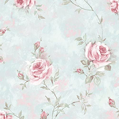 RG35700 Rose Garden Striped Lilac White Galerie Wallpaper