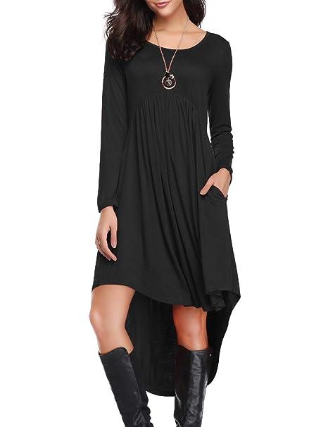 da2e5d89f90 LARACE Women s Casual Long Sleeve Pockets Loose Pleated High Low Swing Dress  - Black