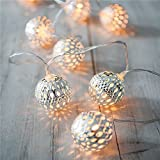 HANGQI(R) 10 LED Moroccan Metal Balls Fairy String Lights Battery Operated Lanterns Christmas Party Bedroom (Warm White)