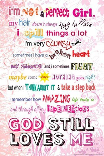 Im Not a Perfect Girl God Still Loves Me Religious Art Cool Huge Large Giant Poster Art 36×54