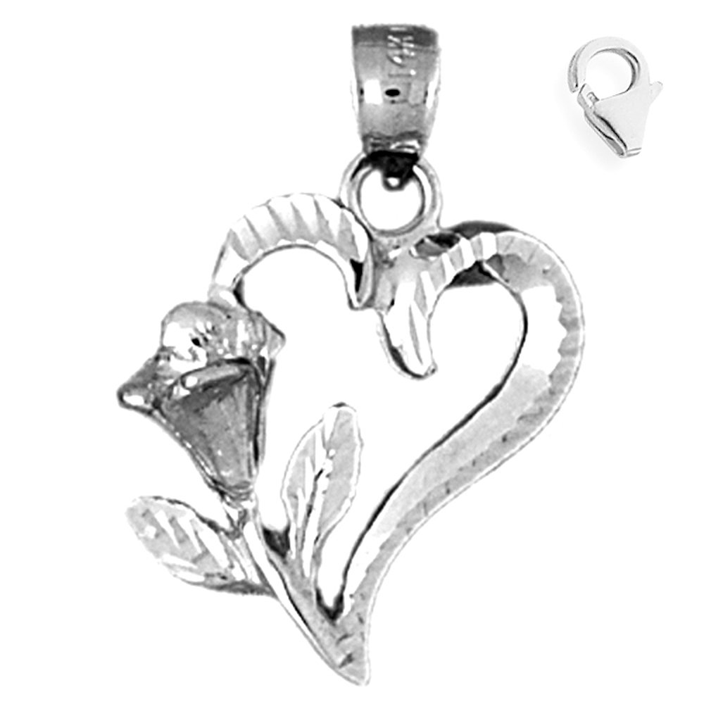 JewelsObsession Sterling Silver 25mm Heart with Rose Charm w//Lobster Clasp
