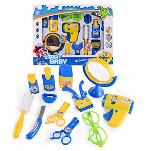 WOLFBUSH 12Pcs Pretend Play Toy Emulational Toy Kit Electric Hair Dryer Barber - Toys Barbershop Kids Razor