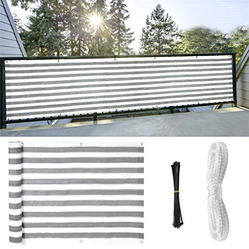 (BeautyShe Stripes Privacy Fence, Residential Commercial Deck Screen - Weather Resistant Outdoor Protection Fencing Net for Balcony Verandah Porch Patio Pool Backyard Rails (Gray with White))