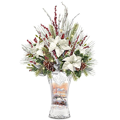 Thomas Kinkade Victorian Christmas Lights Up Floral and Crystal Vase Centerpiece by The Bradford Exchange