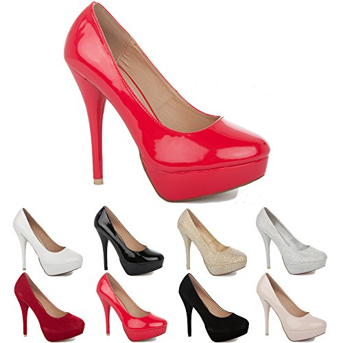 NEW WOMENS LADIES PLATFORM PARTY PROM WEDDING BRIDAL WORK HIGH HEELS STILETTO COURT SHOES PUMPS SIZE 3-8 Red Patent lqGq9VYt