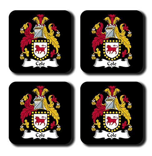 Cole Coat of Arms / Family Crest Coaster Set, by Carpe Diem Designs – Made in the U.S.A.