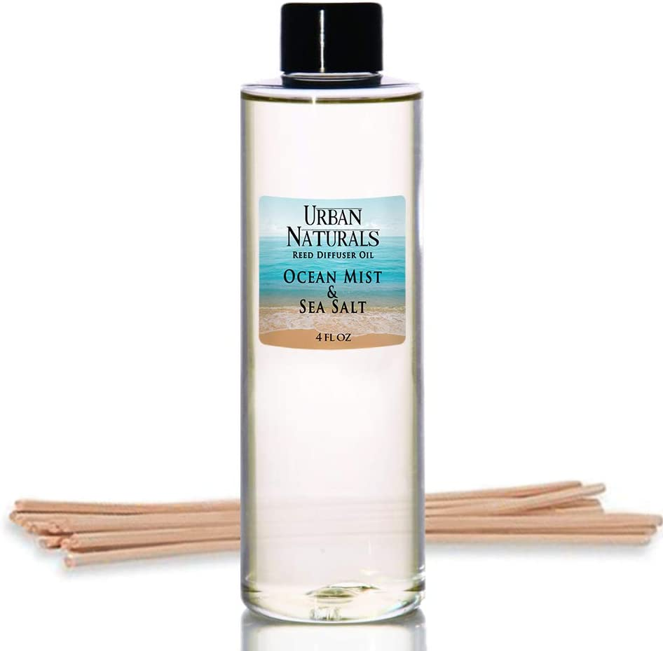 Urban Naturals Ocean Mist & Sea Salt Scented Oil Reed Diffuser Refill | Includes a Free Set of Reed Sticks! 4 oz.