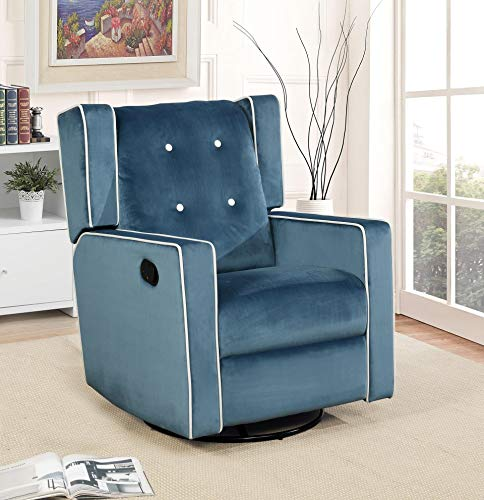 Naomi Home Odelia Swivel Rocker Recliner Light Blue ()
