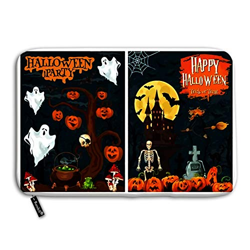 Randell Decorative Felt Floor Mat with Non-Skid Backing Halloween Spooky House with October Holiday Pumpkin for Horror Night Doormat Entrance Floor Mat Rug Fit for Home Indoor 24