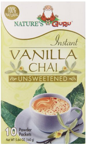 Nature's Guru Chai Unsweetened Drink Mix, Vanilla, 10 Count