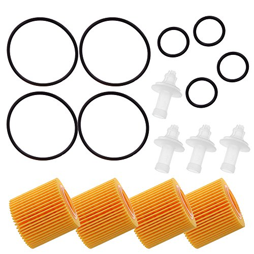Hoypeyfiy 4PCS Engine Oil Filter Kit 04152-YZZA6 For Toyota Prius Corolla Scion IM XD
