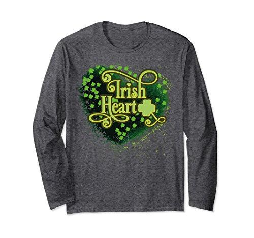 Unisex Irish green heart shamrock long sleeve t shirt Medium Dark (Irish Heart Green T-shirt)