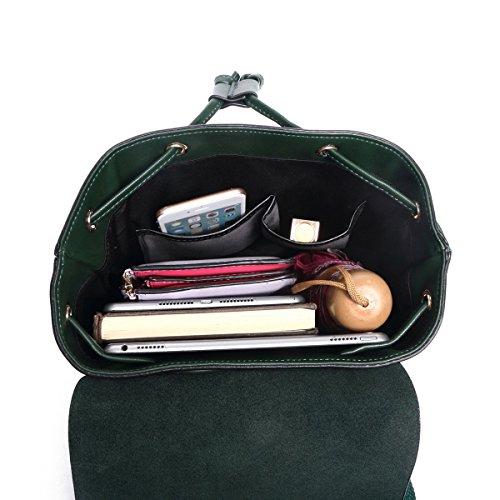 Cuir Ados Noir Fille Backpack Grand College Sac Femme Petit Épaule Voyage à Dos Adulte Vert a de Cordon Porté pour Ecole OWtOq6YwS