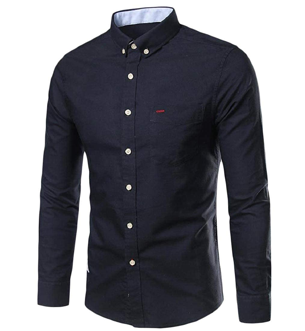 YUNY Mens Button Long Sleeve Business Comfy Blouses and Tops Shirts Navy Blue M