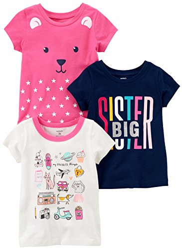 Carter's Big Girls' 3-Pack Short-Sleeved T-Shirt, White/Navy Sister/Pink Bear, 6