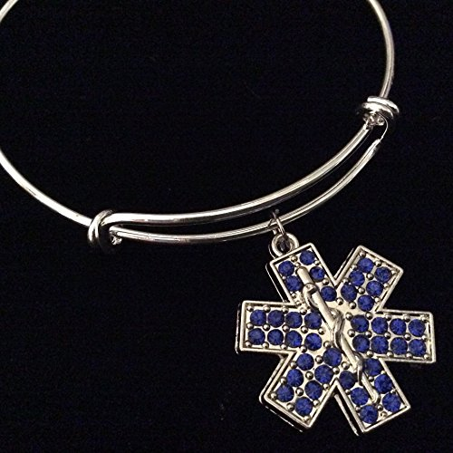 Blue Crystal EMT Paramedic EMS Medical Symbol Silver Expandable Charm Bracelet Bangle
