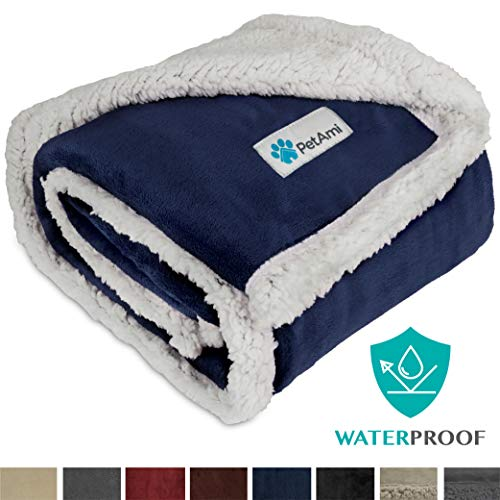 PetAmi Waterproof Dog Blanket for Medium Dogs, Puppies, Small Cats   Soft Sherpa Fleece Pet Blanket Throw for Sofa, Couch   Thick Durable Pet Bed Cover Floor Mat 30 x 40 inches (Blue)