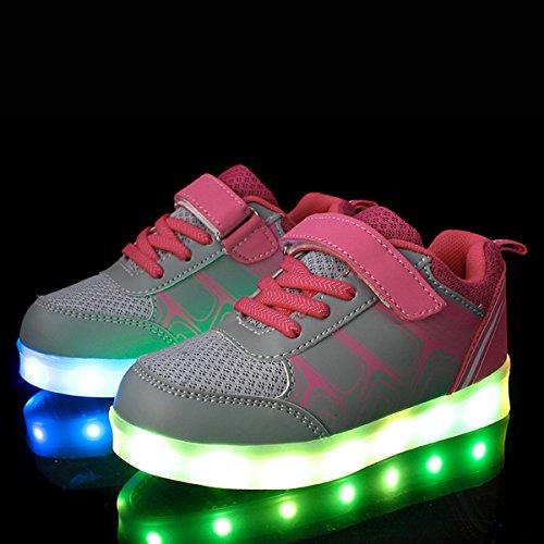 DoGeek Zapatos LED Niños Niñas Negras Blanco 7 Color USB Carga LED Zapatillas Luces Luminosos Zapatillas LED Deportivos Para Hombres Mujeres (Elegir 41 Tamaño Más Grande) Rosa