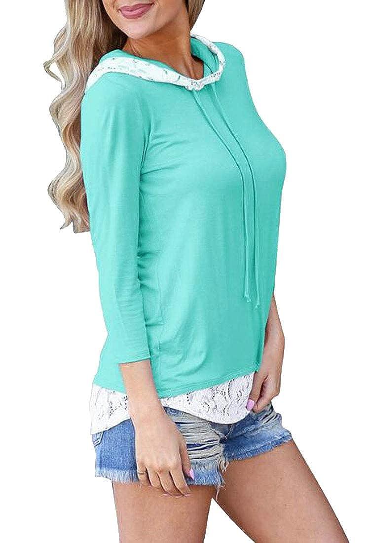 Pluszing Womens Lace Splice Top Long Sleeve Hooded Sweatshirt Slim Blouse T-Shirts