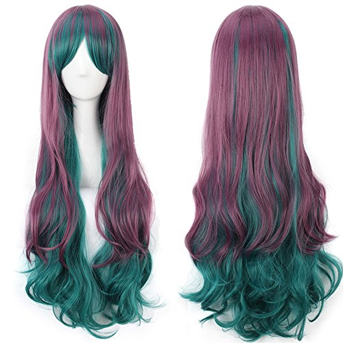 TINYUNICORN Colorful Long Curly Lolita Style Cosplay Wigs for Women with Obligue Band (Madeline Costume For Adults)
