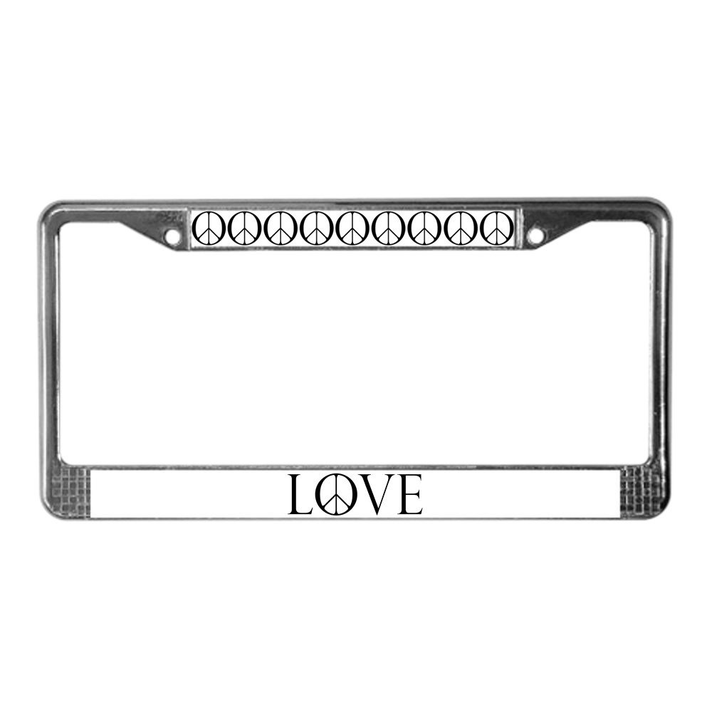 Peace W// Peace Sign  Black Metal License Plate Frame Tag Holder