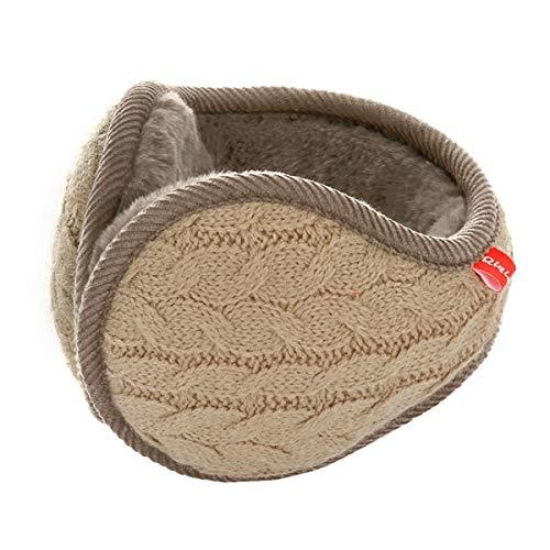 Surblue Unisex Warm Knit Cashmere Winter Pure Color Earmuffs with Fur Earwarmer, Adjustable Wrap,Khaki,Large (Clothing : Womens Accessories Khaki)