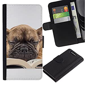 Stuss Case / Funda Carcasa PU de Cuero - Pug Book Sleepy Dog Teacher Librarian Canine - Sony Xperia Z3 Compact