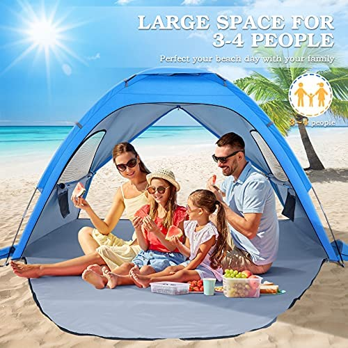 Outdoor 3-4 Person Large SunShade Canopy UPF 50 Sport Umbrella Instant Tent for Camping Beach Accessories MOVTOTOP Beach Tent Sun Shade Shelter