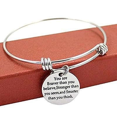 UNKE You're Braver Stronger Smarter than you think Inspirational Bracelet Expandable Bangle Gift for Women Men