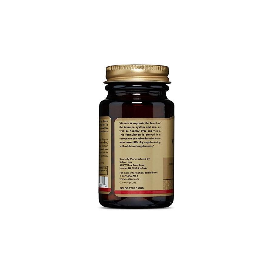 Solgar Dry Vitamin A 5000 IU Tablets, 100 Count