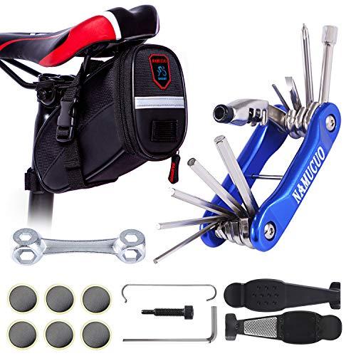 NAMUCUO Bike Repair Tool Kits - Bicycle Tool Set with Saddle Bag and Bicycle Multi-Tool Chain Tool (Blue Tool Kits 10 in 1 + Bag)