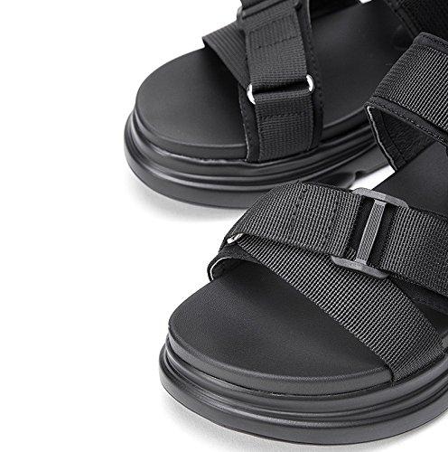 DHG moda Sandali alla Sandali tacco da basso casual Tacchi basso Pantofole donna Nero piatti estivi alti con a Sandali tacco 36 YrvdxqY