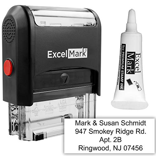 Custom Self Inking Rubber Stamp - 4 Lines - with Ink Bottle 5cc (A1848)