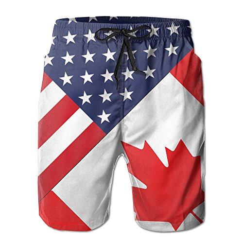 MYKJ USA Canada Flag Summer Casual Breathable Cargo Shorts Swim Trunks Drawstring Striped Side (Canada Fit Shorts)